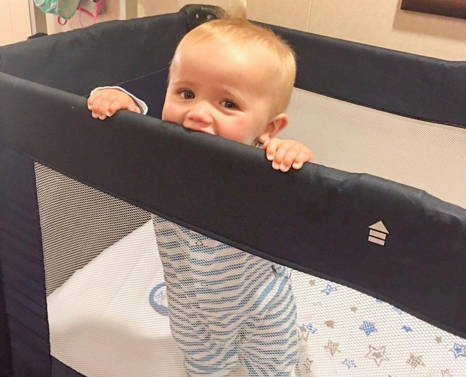 Baby Adam in his cot on MSC Preziosa
