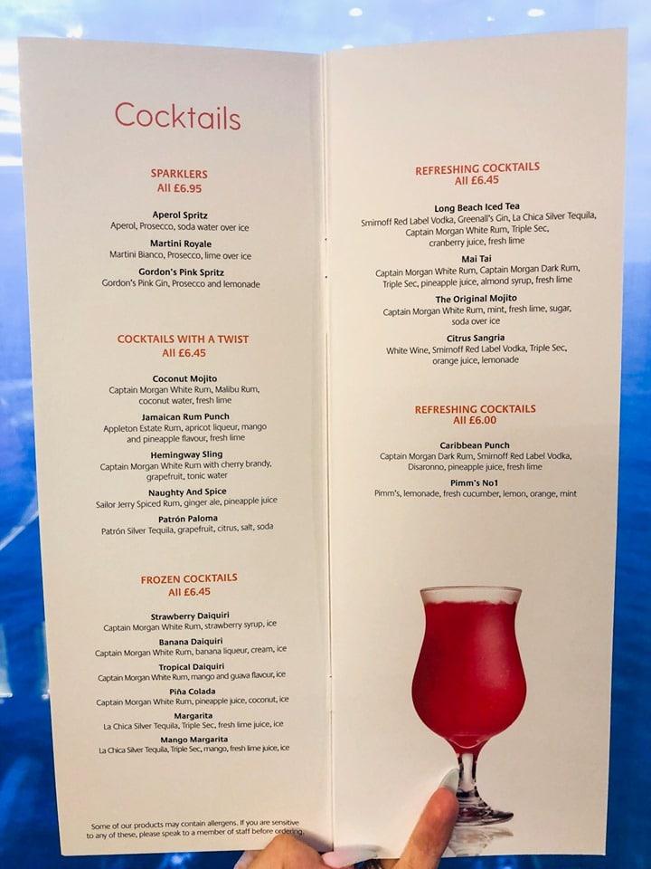 P&O Cruises cockatil menu