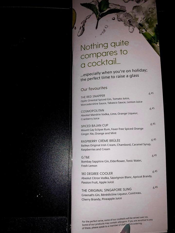 P&O cruises drinks menu