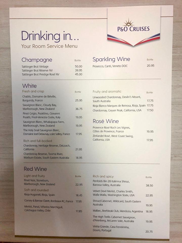 P&O Cruises room service drinks menu