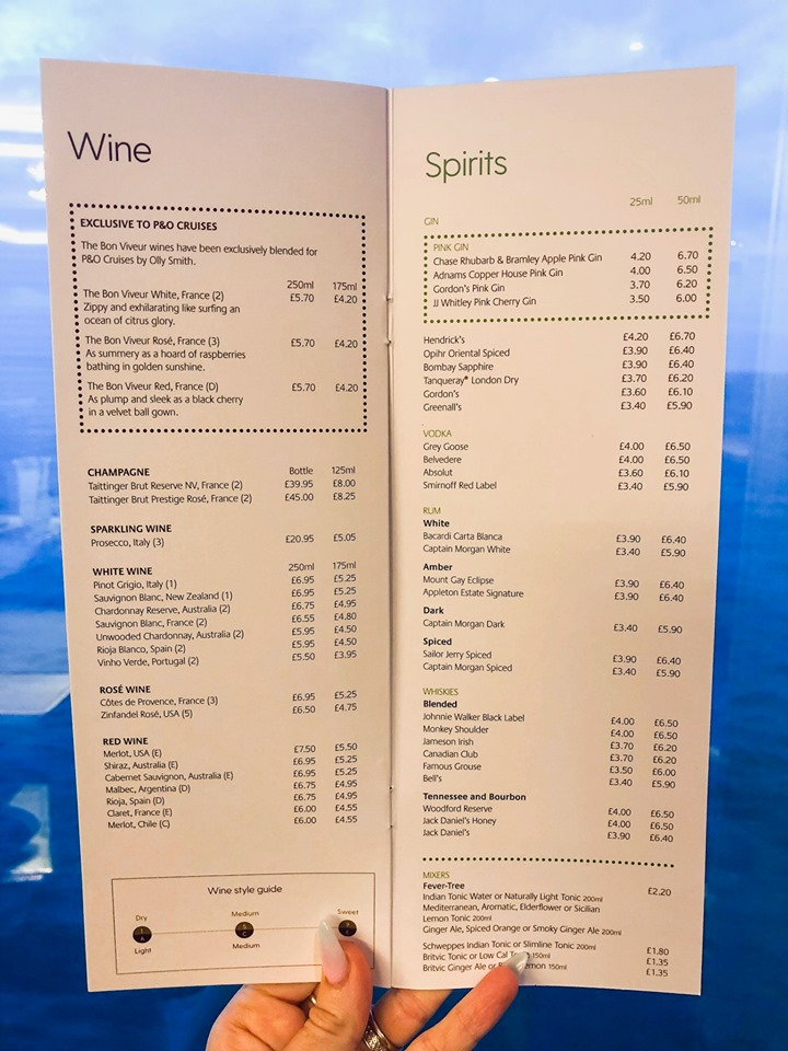 P&O Cruises drinks menu - wine and spirits