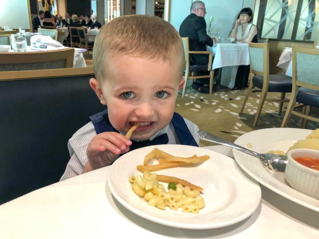 Child eating in Main Dining Room on P&O Britannia