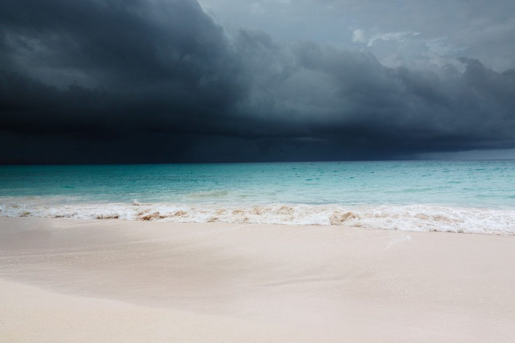 Caribbean beach before hurricane