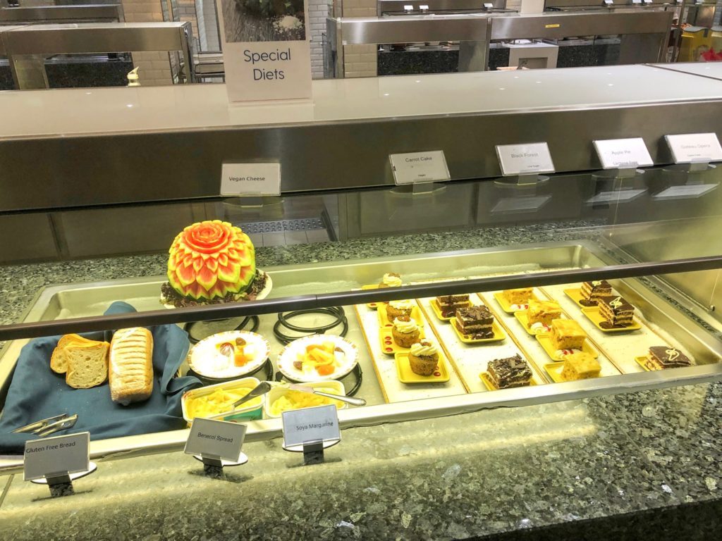 Vegan section of buffet on P&O Britannia