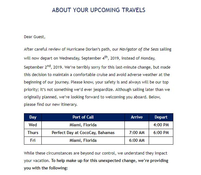 Email from Royal Caribbean about Hurricane Dorian