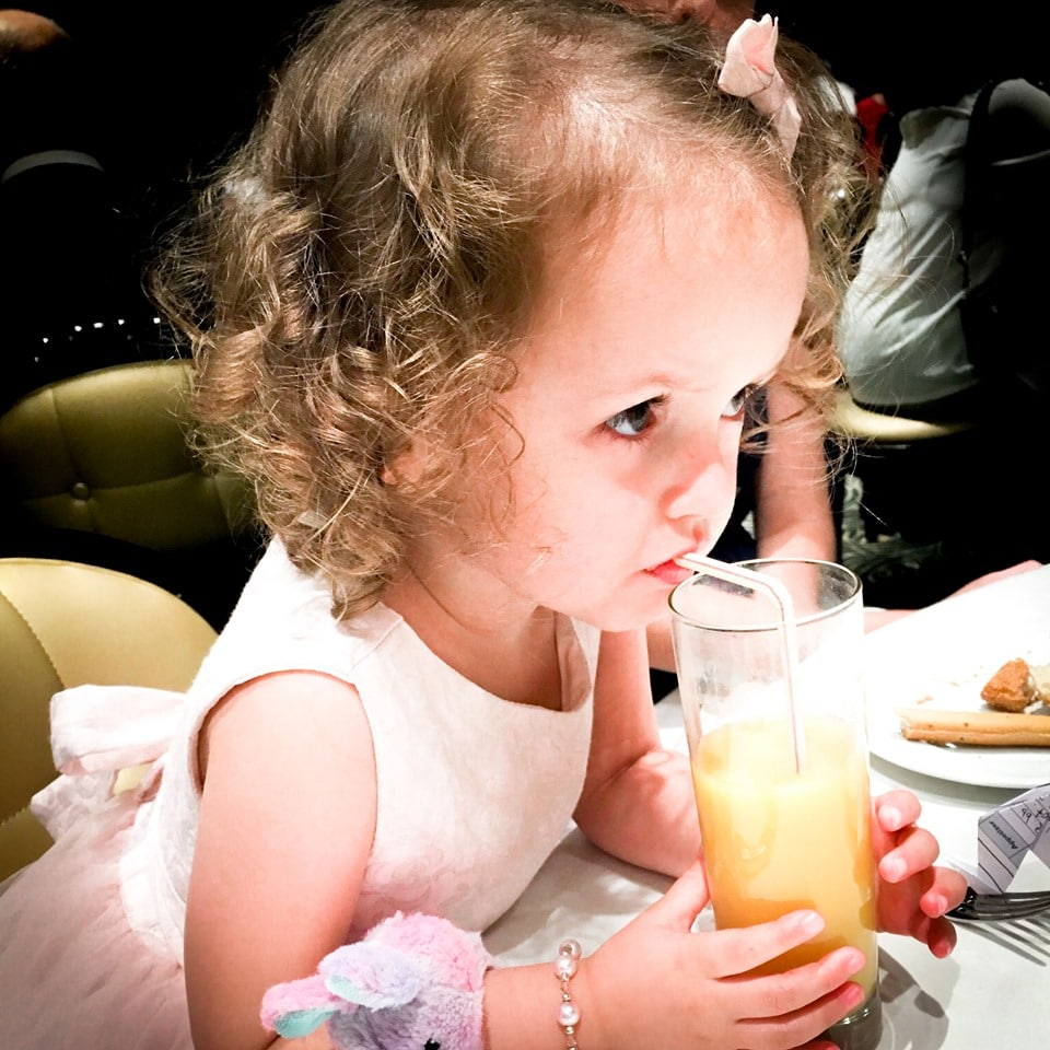 two year old with drink