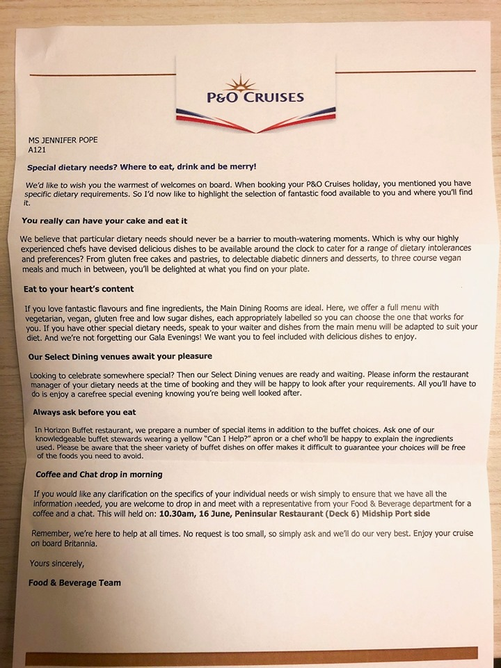 Welcome letter for people with special dietary requirements on P&O Cruises