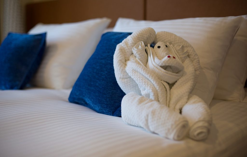 Towel art on a Carnival cruise