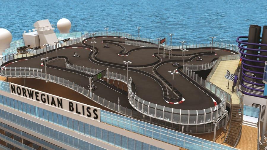 Go kart track on Norwegian Bliss