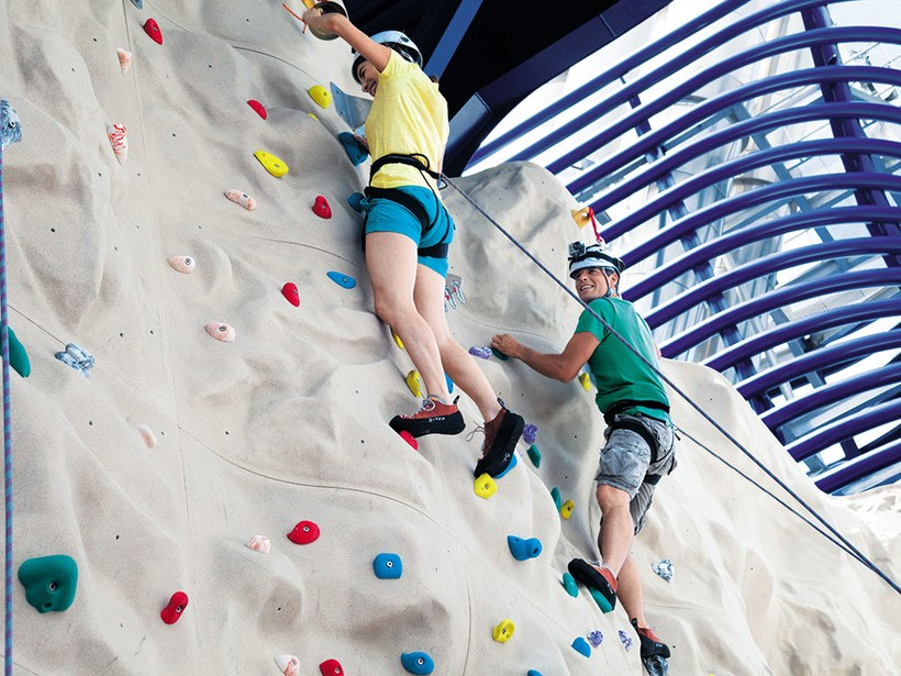 The climbing wall on Norwegian Cruise Line's Norwegian Epic