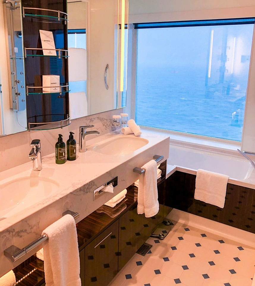 Bathroom with a view in the Haven Family Suite