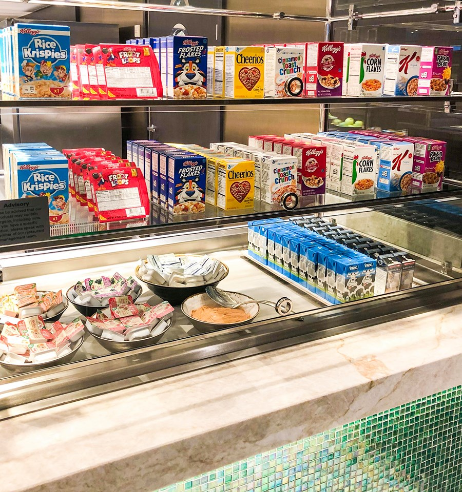 Choice of cereals in the Garden Cafe on Norwegian Encore
