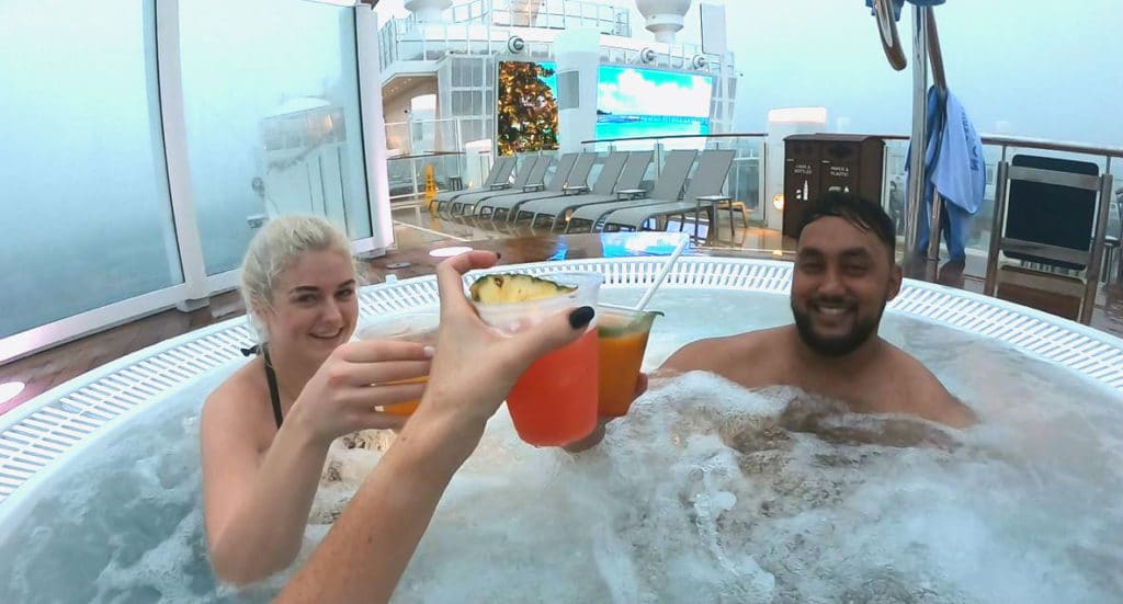 cocktails in the hot tub on Norwegian Encore