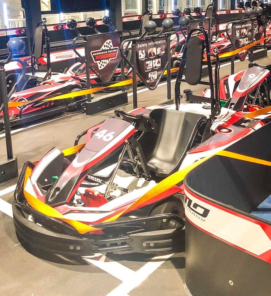 Speedway go karts on Norwegian Encore