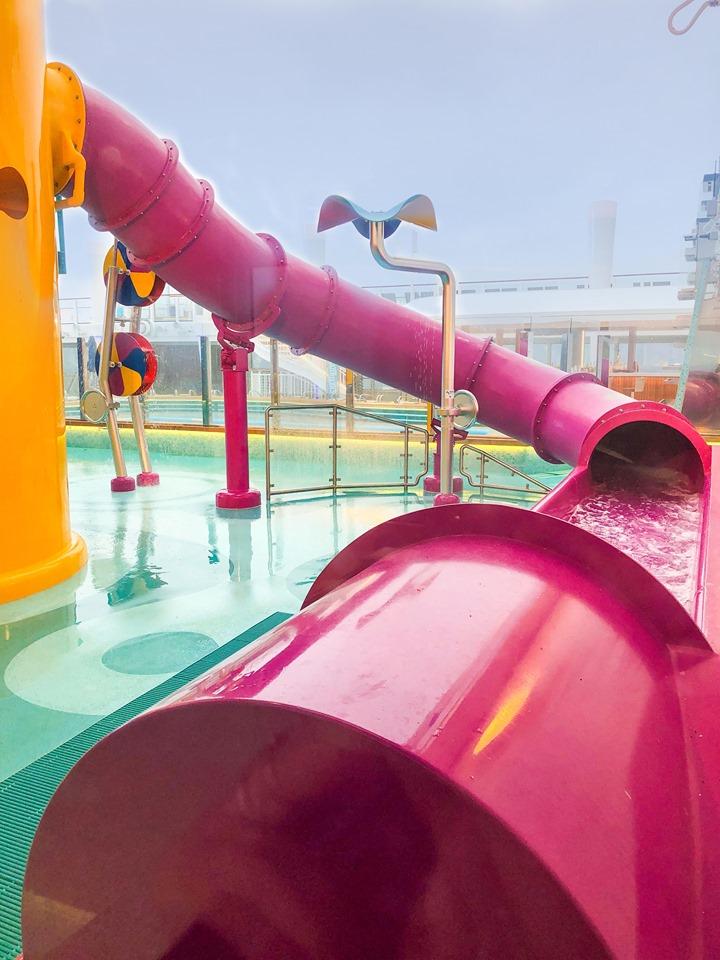 The kids' slide in the Aqua Park on Norwegian Encore