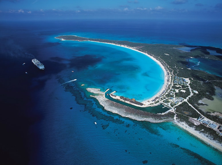 Aerial view of Half Moon Cay