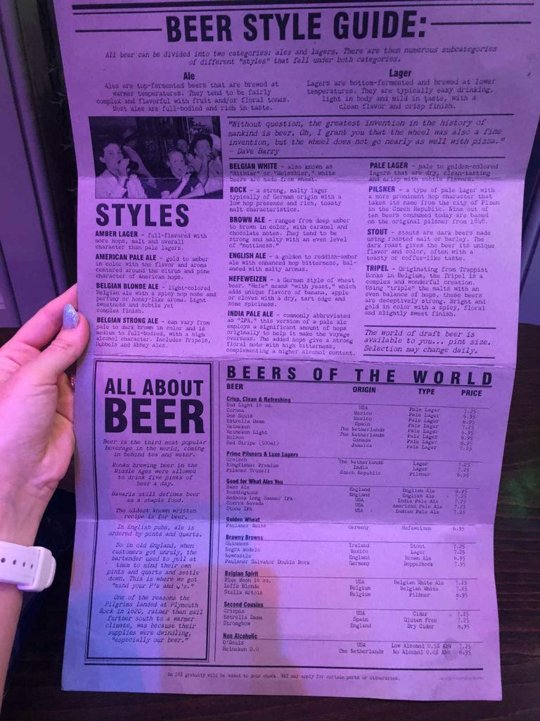Royal Caribbean English Pub menu front