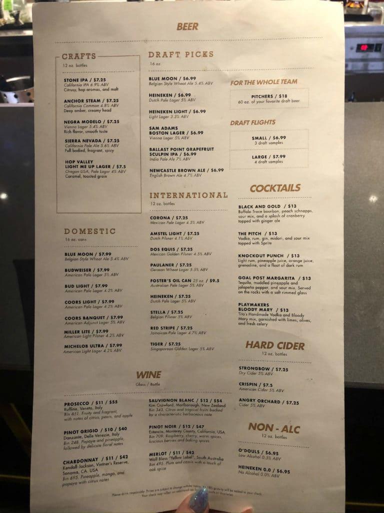 Playmakers drinks menu