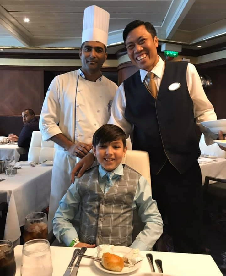 boy with waiter and chef on Mariner of the Seas