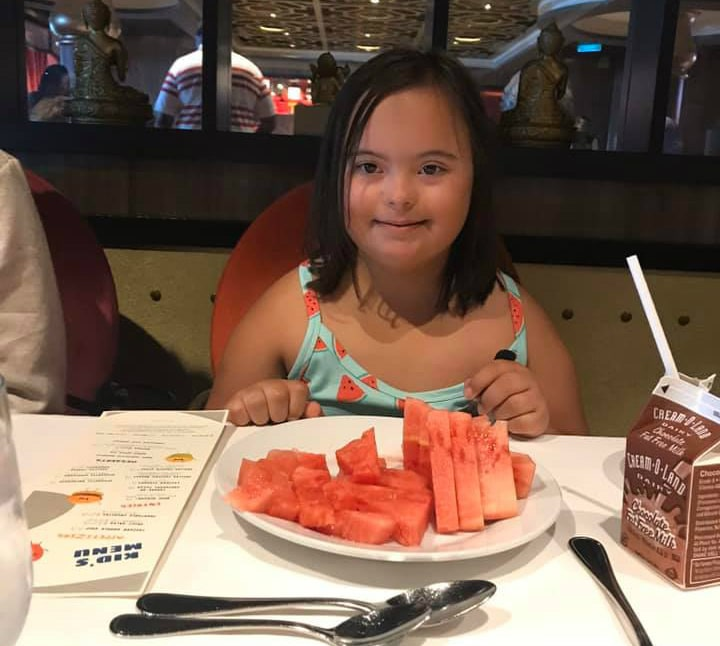 girl with watermelon on cruise ship