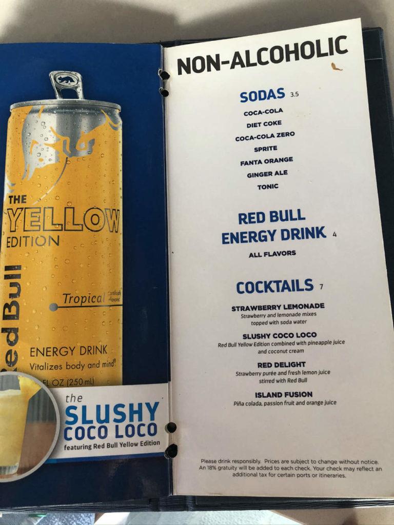 Royal Caribbean soft drink menu