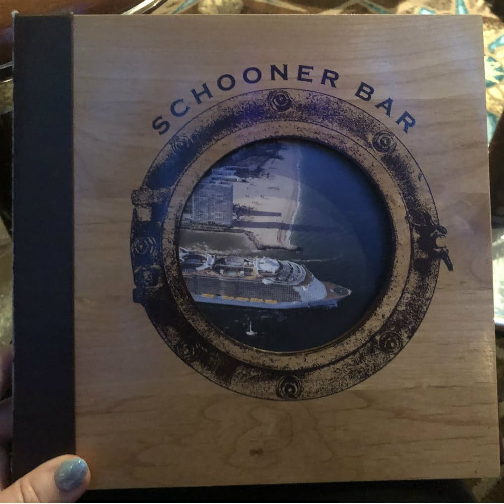 Royal Caribbean Schooner bar menu