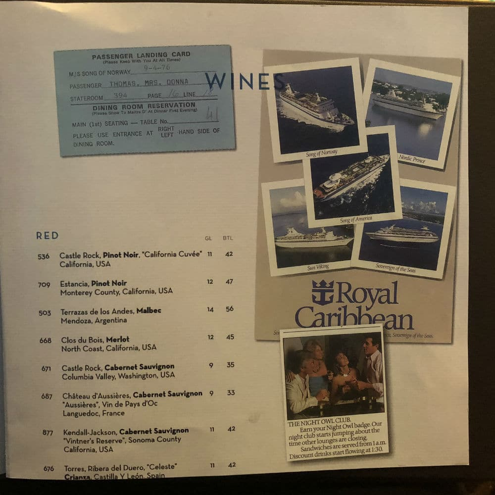 Royal Carihbean schooner bar wine menu