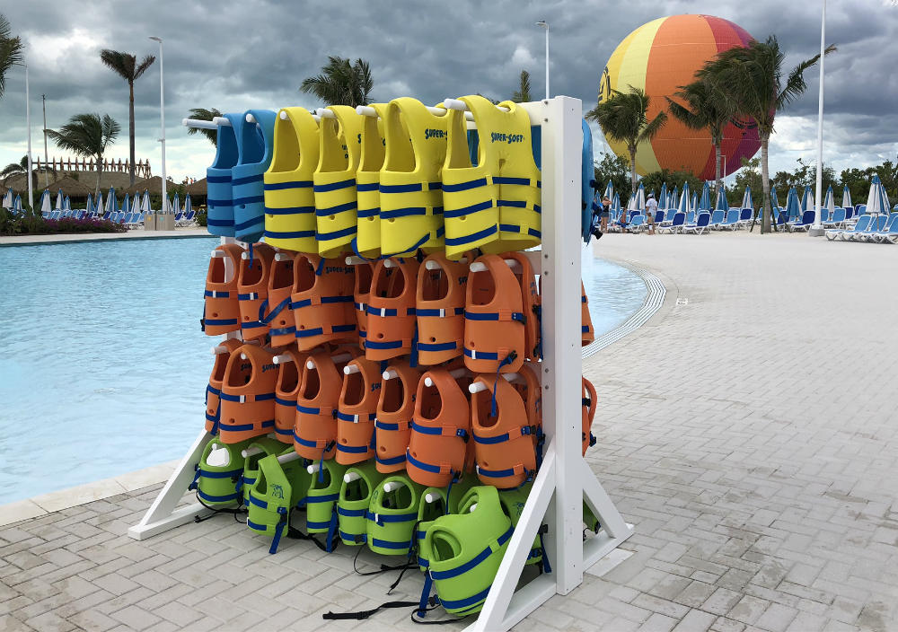 Free swim jackets on CocoCay