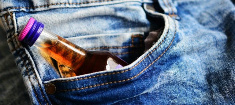 sneaking booze in pocket