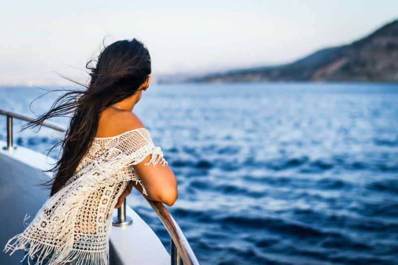seasick woman on a cruise