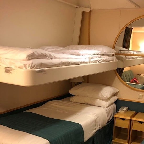 Pullman bed with small guard rail on Mariner of the Seas