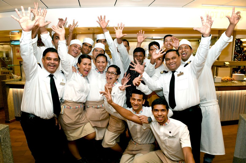 P&O Cruises buffet staff