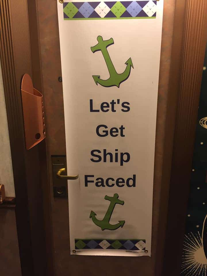 Let's get ship faced funny cruise door sign