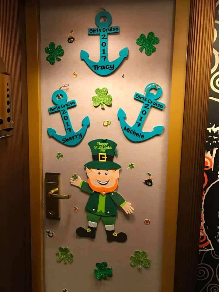St Patrick's Day cruise door decorations
