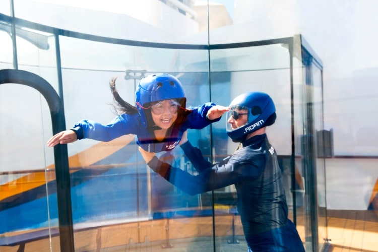 Child on Skydiving simulator on Anthem of the Seas
