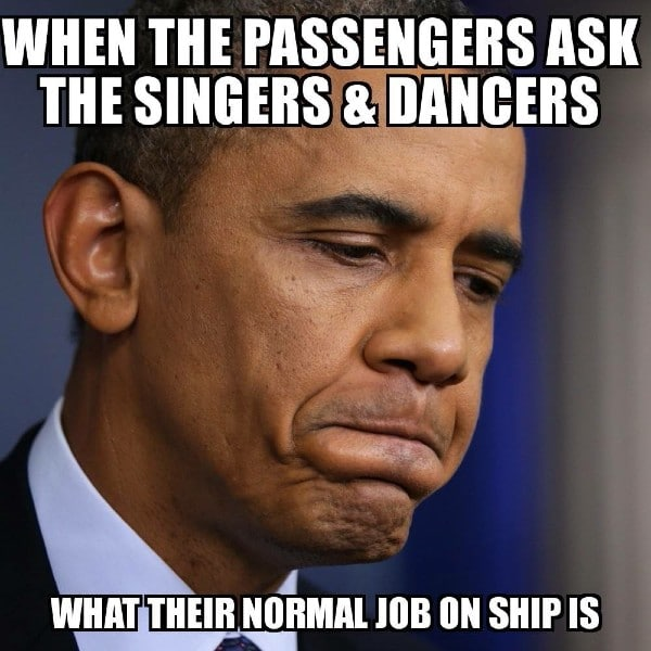 singers and dancers on cruise meme