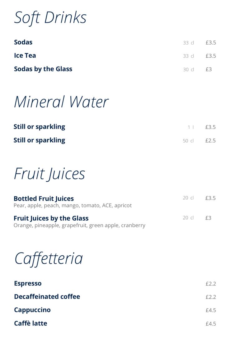 MSC Cruises buffet soft drinks list
