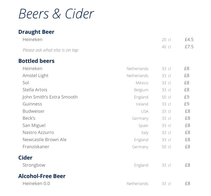 MSC Cruises buffet beer list