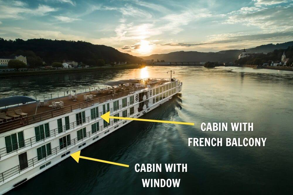 French balcony and window cabin on Uniworld river cruise