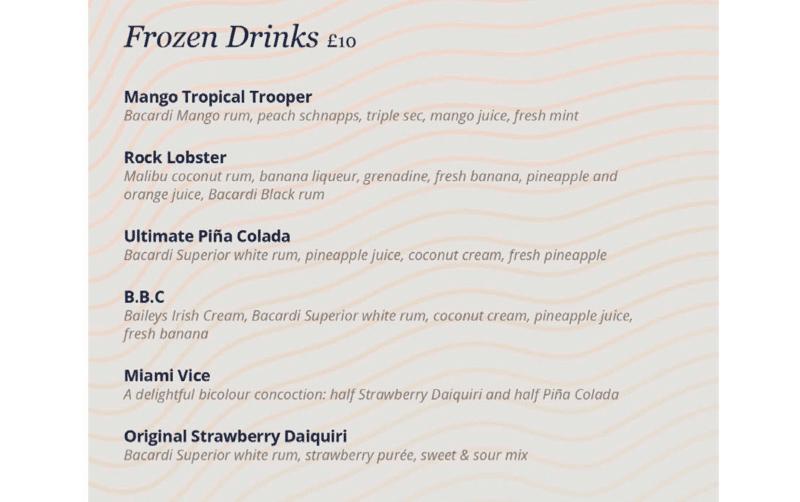 MSC Cruises frozen cocktail menu