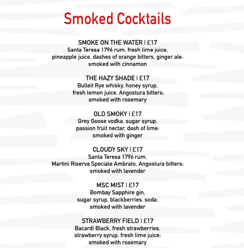MSC Cruises smoked cocktails