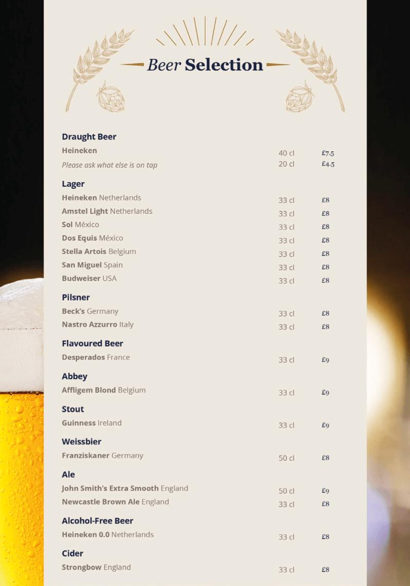 MSC Cruises beer menu