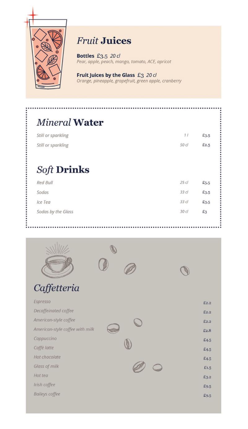 MSC Cruises soft drinks and coffee menu