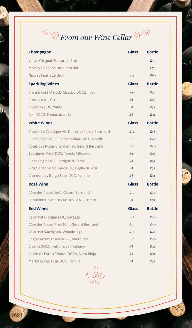MSC Cruises wine list
