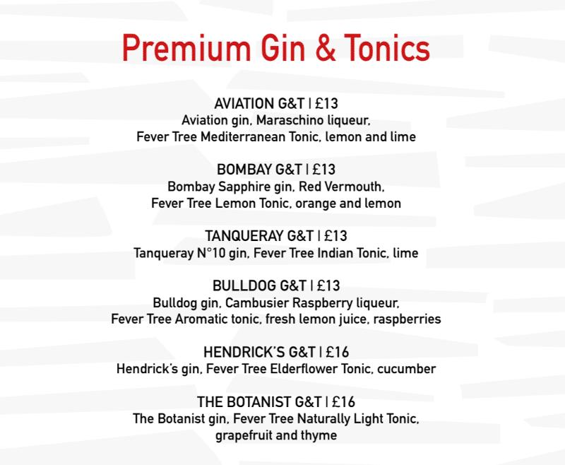 MSC Cruises gin and tonic menu