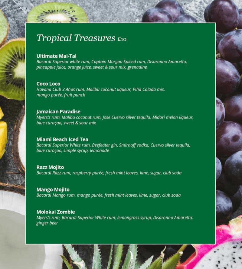 MSC Cruises tropical cocktail menu