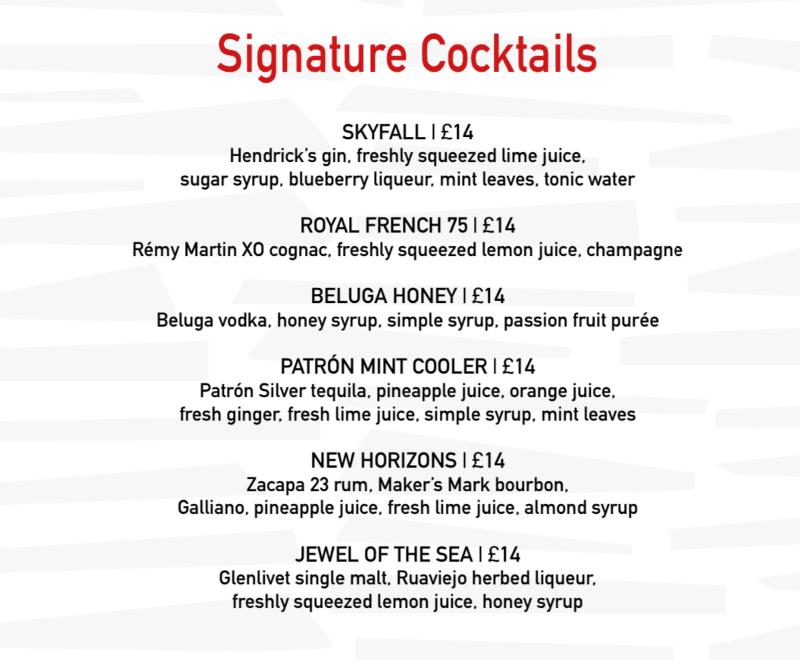MSC Cruises signature cocktail menu