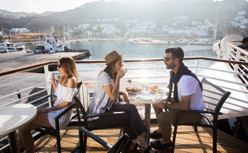 Guests enjoying al fresco dining