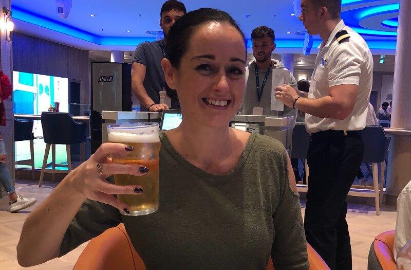 Drinking beer on Norwegian Encore