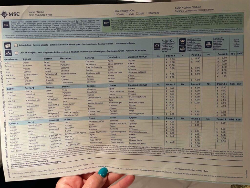 MSC Cruises Laundry Price List